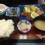 27393031 - 日替わり定食・チキンガーリックソテーとカツオ立田揚盛