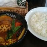 SAMA - チキン野菜カレー1,150円 ライス大盛り100円。ライス凄い量!