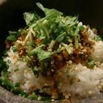 彩炙 - 明太高菜石焼茶漬け(お出汁をかける前)
