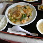 桂林 - 料理写真:桂林・焼きそば<五目あんかけ>&ライス(2014.02)