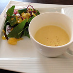てんしの森 - カボチャのスープと自家製ドレッシングのサラダ ~オレンジとハーブのドレッシング~