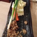 串揚げ×おばちゃん割烹 経堂 ただいま - 鶏味噌と野菜セット
