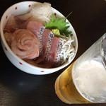 鱗亭 - 地魚丼 くろむつ いさき すずき 2014.5