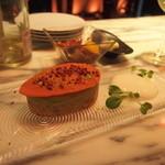 俺のフレンチ・イタリアン - ズワイガニのフイヤンティーヌ~ピスタチオとフランボワーズ 680円