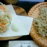 蕎楽 - 百合根のかき揚げ天盛り蕎麦