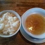ブラス - ◇ランチの ライスとスープ …スープは ベーコン入りで 濃いめ。