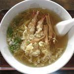 ささや食堂 - えび天ぷら塩ラーメンのアップ