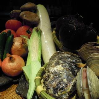 新鮮な魚、野菜、お肉