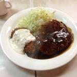 亜樹 - 亜樹Iの日替りはハンバーグと魚フライ830円(14.05)