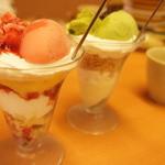 スシロー - 抹茶わらびもちパフェ248円・いちごミルフィーユパフェ248円