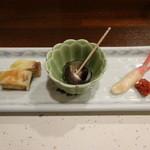 旬喜酒楽 はる田 - 前菜3種盛合せ:あん肝真薯、しったか貝煮付け、新生姜と金山寺味噌