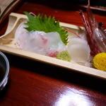甚内旅館 - 海老、鯛、ヒラメと孟宗の刺身