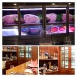 ステーキハウス バロン - カウンター6席と個室仕様のテーブル席のみ。 カウンター利用です。高級なお肉が並んでいますよ。