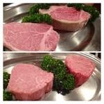 27536617 - 最初にお肉を見せてくださいます。                          上が400g程度の塊。                          下が美味しい部分だけを残した本日頂くお肉。これを見るだけで美味しそうですよ。
