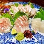 まりも亭 - お造り 本日の厳選鮮魚4種盛