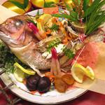 つきじ植むら -  祝膳コースオプション 鯛姿刺身盛合せ 又は 鯛姿寿焼き