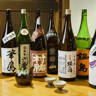 全国各地から、日替わりで選りすぐりの日本酒をそろえてあります