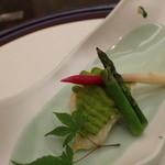 日本料理 ぎん -  白身魚のずんだ焼き、アスパラ、はじかみ