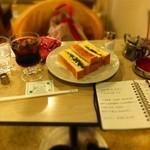 マヅラ喫茶店 -   タマゴトースト:400円+ アイスコーヒー:250円('14.05月)