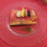 アルカション -  サーモンマリネの瞬間スモーク 皮焼き いろどり野菜
