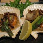 魚や一丁 - ほたてとアスパラのバター焼き