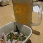 魚や一丁 - 生ビールとお通し