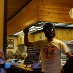27698128 -  岩手へ転勤で戻る彼へ、参加者の皆様から、秋田を忘れないように、ナマハゲのお面とナタがプレゼントされました・・(´∀`)