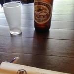 柳橋 こだに -  瓶ビールをお願いしました。グラスもビールもキンキンに冷えている模様♫