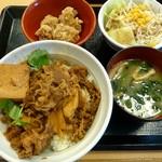 なか卯 - 牛すき丼(並)、サラダセット、唐あげ3個(2014/05/30撮影)