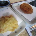 山桜 - 2014/5 左・鶏天、右・そばがきコロッケ