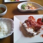 フラノダイニングカフェ -  チキン山葵(wasabi)ソース ランチセット980円