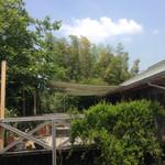 オリーブの木 - 駐車場からのデッキ
