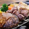 ジャンク - 料理写真:【Mixグリル】(ハンバーグ、ビーフステーキ8、奥丹波鶏)1280円