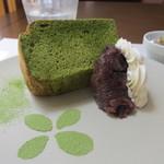 グルテンフリーCafé RiceTerrace かまくら -  抹茶シフォン(おぐら餡添え)アップ