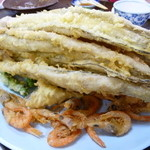 海鮮料理 磯 -  天ぷら6人前、穴子、小エビ、シズ、ししとう