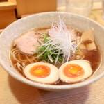 山崎麺二郎 - らーめん+味玉 (650+100円)  '14 4月下旬