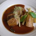 45 - 豚フィレ肉の香草パン粉焼きグリーンペッパーのソース