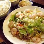 同福堂 - エビと野菜の海鮮ソースあっさり炒め(炒蝦仁)定食;結構オヌヌメ(^^)b @2014/05/31