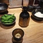 鉄板神社 - 上喜元と突き出しの枝豆と口直し(?)の大根おろし