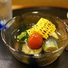 まにわ - 料理写真:つるむらさき・茄子・ミニトマト・焼きもろこし・高野豆腐の冷し鉢