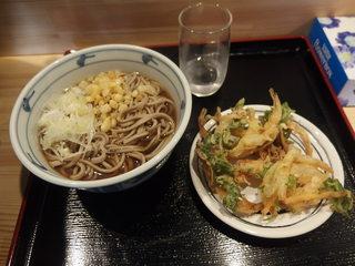 いきなりそば - かけそば290円+野菜かきあげ80円