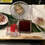 27833472 - 前菜盛り合わせ(お刺身)/鯛の昆布〆・鮑・白ミル貝