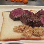 ステーキハウスいけだ - お肉、焼けました。いただきます!