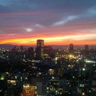 地上125mからの夕日一望