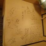 やき亭ぼーの - 野球界・角界のサインが壁に・・