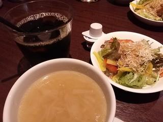 ホノルルハウス - ランチのセット アイスコーヒー&サラダ&スープ