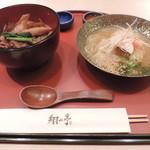 27895643 - ランチの百年御膳(百年牛丼ハーフサイズと翔山亭冷麺ハーフサイズ)