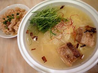 イベリコ・バル 門仲 - イベリコ豚ラーメン・塩+ミニライス(900円)