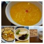 27929404 - お粥は日替わりのようでこの日は「南瓜粥」。かぼちゃの甘みが美味しい粥です。かなりボリュームがあります。
