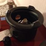雅楽茶 - アルコールランプでお水を温めます